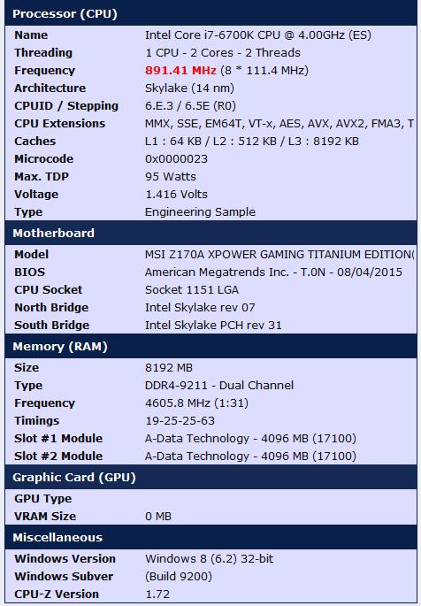 Рекорд разгона ОЗУ DDR4 в 4605 МГц был поставлен с платой MSI Z170A XPower Gaming Titanium Edition - 1