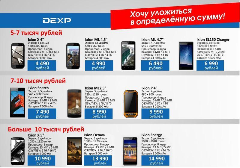 Смартфон с мощным аккумулятором. Версия DEXP: 10 моделей от 4 490 до 13 990 рублей, от 3 000 до 5 200 мАч - 4