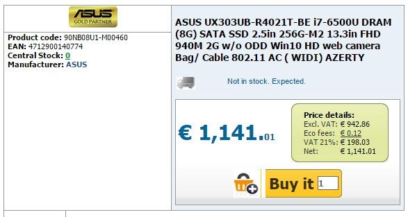 Asus Zenbook UX303 с процессором Intel Skylake замечен в продаже