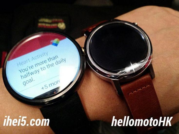 Часы Moto 360S запечатлены на фото рядом с моделью Moto 360