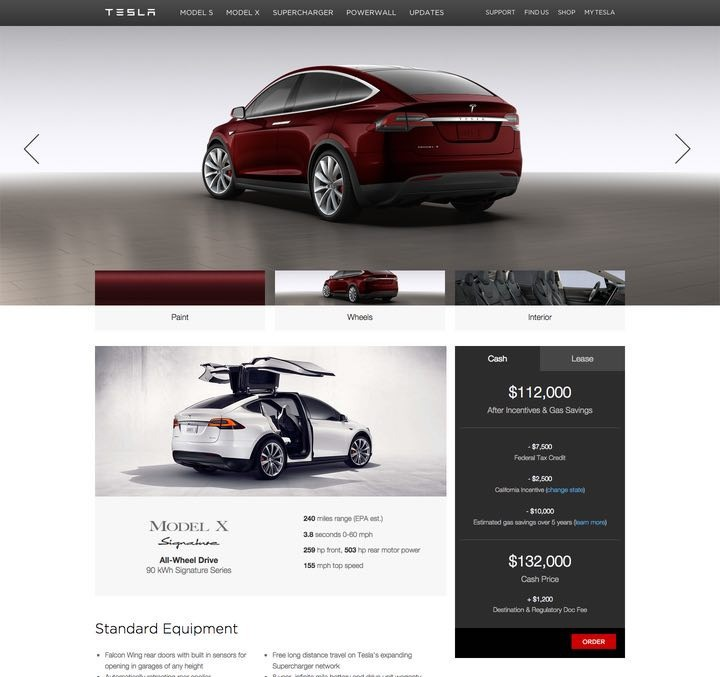 Новый электромобиль Tesla Model X обойдется покупателю в $132000. Обновление Roadster 3.0 — $29000 - 2