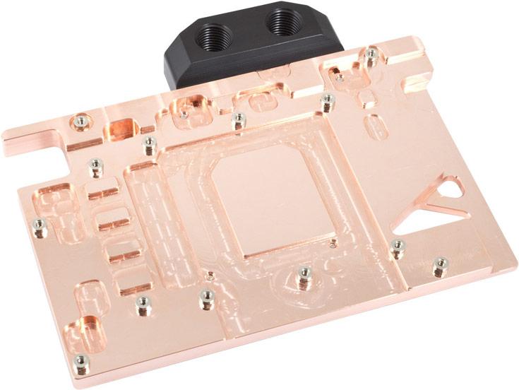 Основание водоблока Aqua Computer для 3D-карты Radeon R9 Nano изготовлено из меди