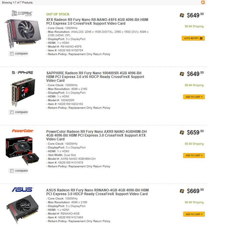 Цены на 3D-карты Radeon R9 Nano начинаются с рекомендованной отметки $650