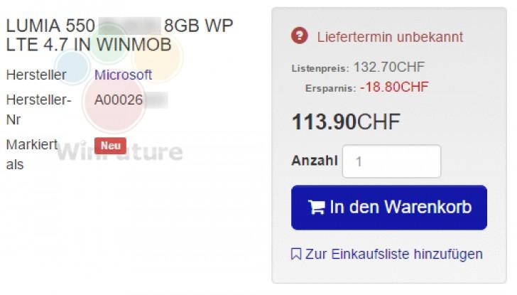 Смартфон Microsoft Lumia 550 LTE будет стоить около $115