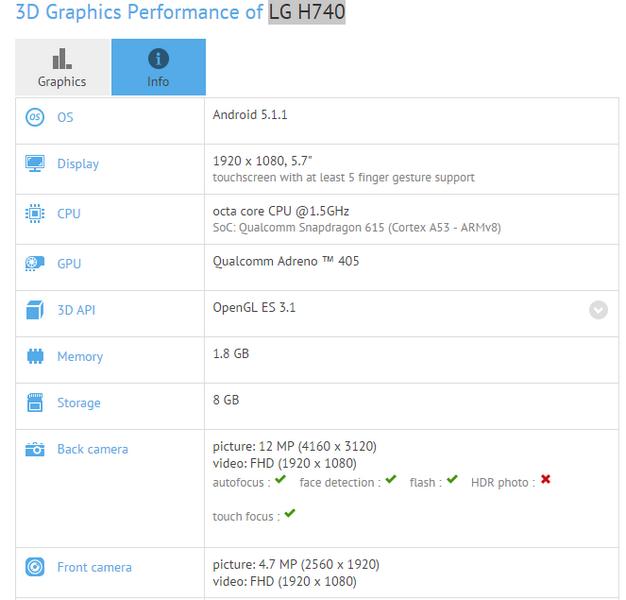 Смартфон LG H740 получит 5-мегапиксельную фронтальную камеру