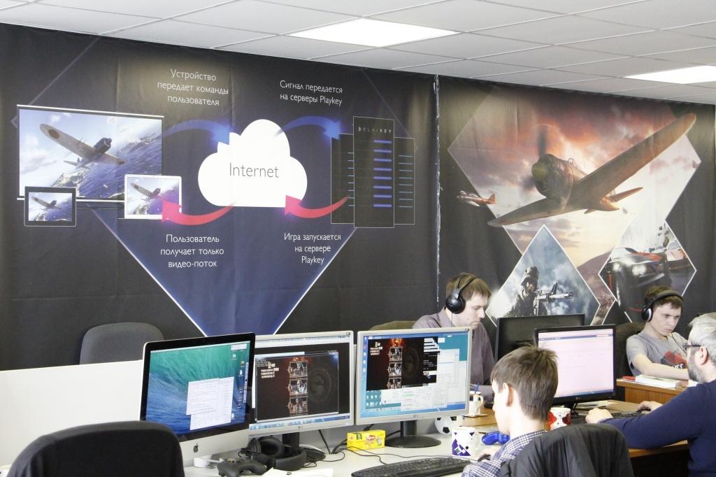 Схема работы Playkey на стене офиса Enaza