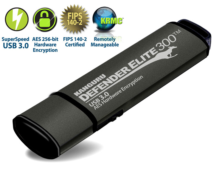Флэш-накопитель Kanguru Defender Elite300 с интерфейсом USB 3.0 соответствует требованиям FIPS 140-2