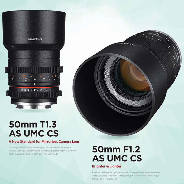 Объективы Samyang 21mm F1.4 ED AS UMC CS и Samyang 50mm F1.2 AS UMC CS предложены в обычных и «киношных» вариантах
