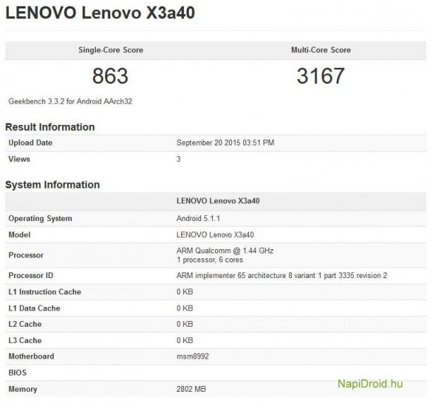 Основой Lenovo Vibe X3 служит SoC Qualcomm Snapdragon 808 с шестиядерным процессором