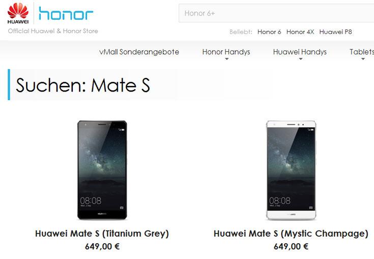Срок доставки Huawei Mate S — четыре-пять недель
