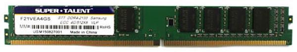 Низкопрофильные модули Super Talent ECC UDIMM DDR4-2133 F21VEA4GS предназначены для систем с повышенной плотностью компоновки