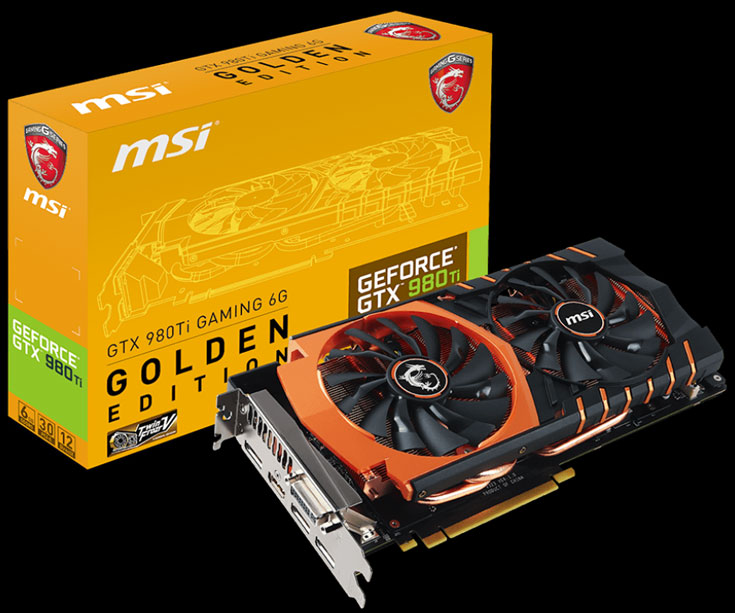 3D-карта MSI GeForce GTX 980 Ti Golden 6G Gaming Edition оснащена охладителем Twin Frozr V