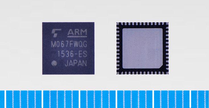 Модель Toshiba TMPM066FWUG заключена в корпус LQFP размерами 10 х 10 мм с 64 выводами