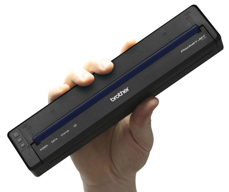 Без подзарядки принтер Brother PocketJet 7 может напечатать 600 страниц