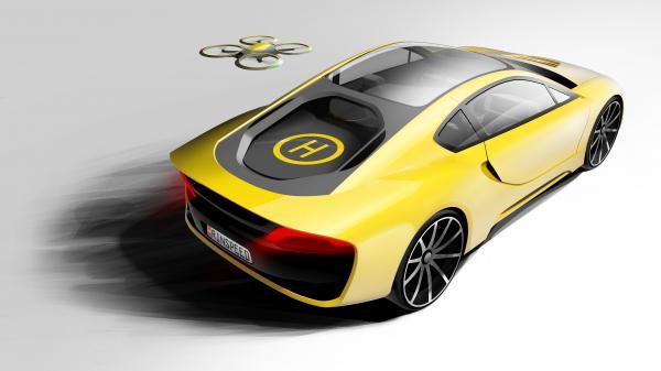 Автомобиль Σtos также оборудован посадочной площадкой для самоуправляемого дрона