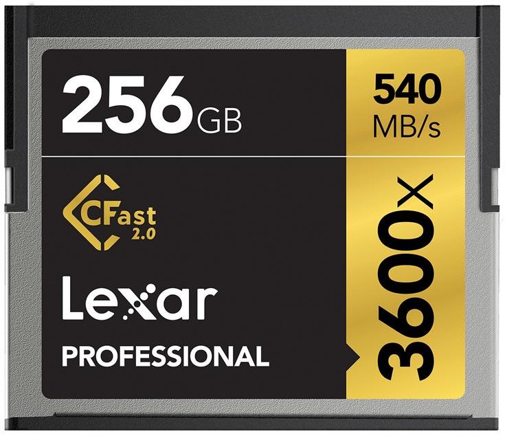 Карты памяти Lexar Professional 3600x и 3500x CFast 2.0 адресованы тем, кто занимается съемкой видео 4К