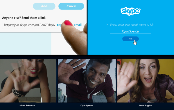 В чат Skype теперь можно приглашать людей, у которых нет учетной записи и клиента