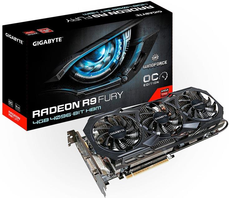 Толщина системы охлаждения WindForce 3X такова, что карта GV-R9FURYWF3OC-4GD занимает в корпусе ПК три слота