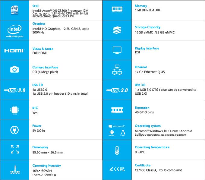 UP — плата на платформе Intel x5-Z8300 в форм-факторе Raspberry Pi2 - 2