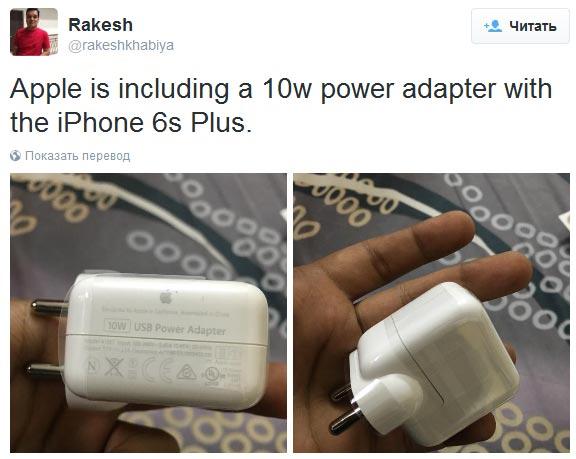 Смартфон Apple iPhone 6s plus с зарядными устройством мощностью 10 Вт замечен в Индии