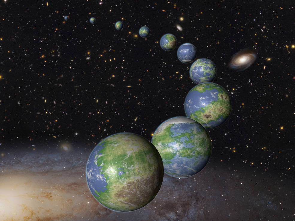 arc of Earth-like planets against the cosmos