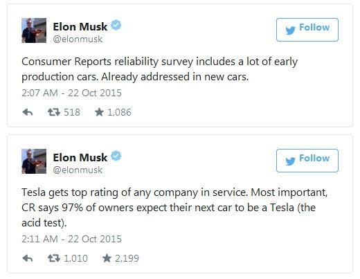 Илон Маск ответил на критику издания Consumer Reports в адрес Tesla Model S