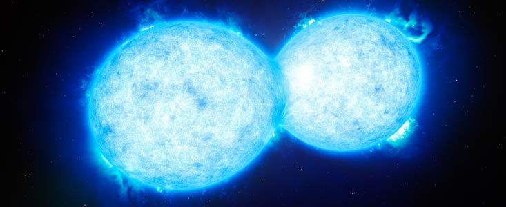 Астрономы при помощи VLT обнаружили самую горячую и массивную контактную двойную звезду - 1