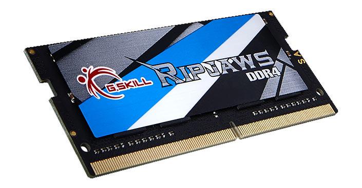 Наборы модулей памяти для ноутбуков G.Skill Ripjaws DDR4 объемом до 64 ГБ работают на эффективных частотах до 2800 МГц при стандартном напряжении питания