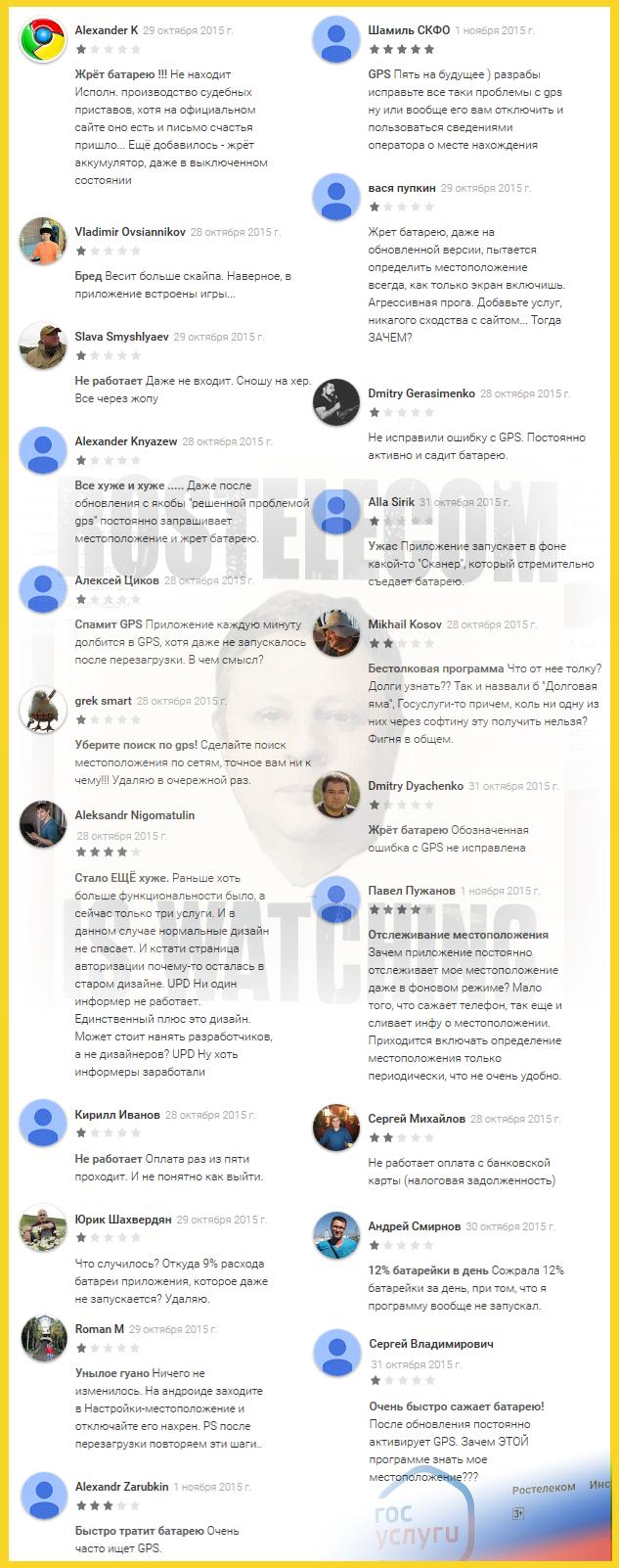 Ростелеком, Госуслуги, ноябрь 2015 отзывы и жалобы на постоянное обращение к GPS, определение координат смартфона