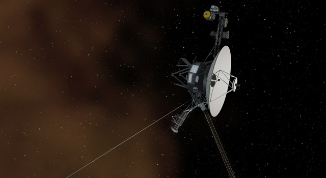 This artist's concept shows the Voyager 1 spacecraft entering the space between stars.