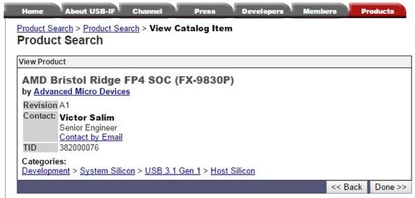 AMD FX-9830P семейства Bristol Ridge замечен в базе данных USB-IF