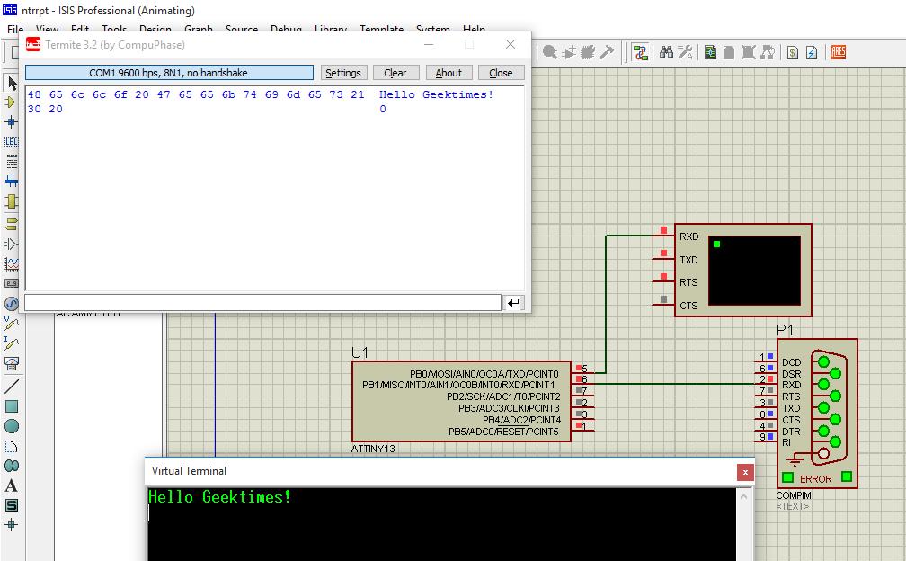 Полнодуплексный программный UART для ATtiny13 - 1