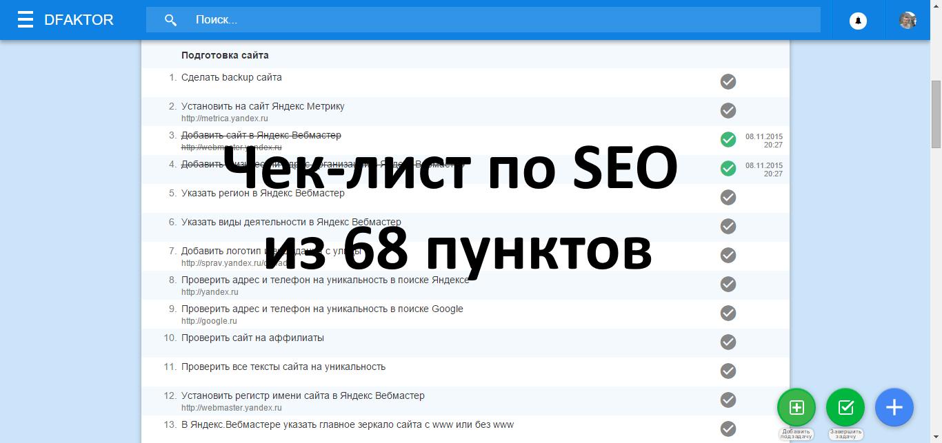 Чек-лист из 68 пунктов для продвижения сайта в ТОП10 Яндекса - 1