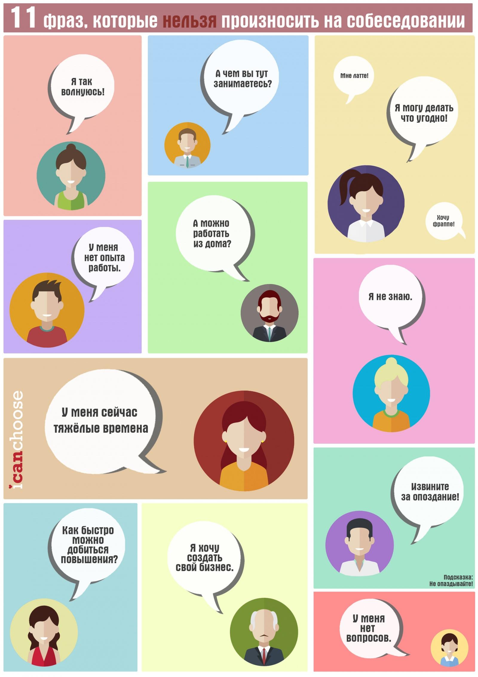 11 фраз, которые нельзя произносить на собеседовании -- Инфографика - 2