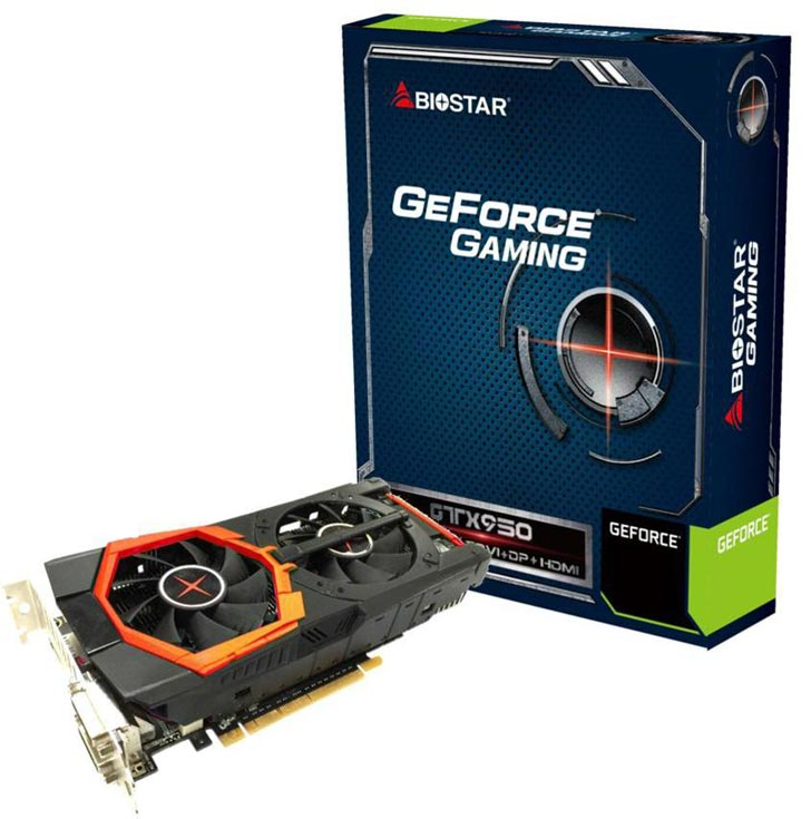 Конфигурация Biostar GeForce Gaming GTX 950 включает 768 ядер CUDA