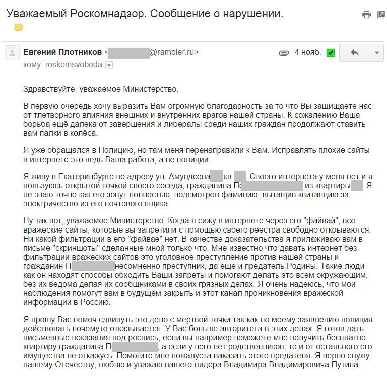 Житель Екатеринбурга, который пожаловался на соседа за открытый доступ к «вражеским сайтам», оказался проделкой пранкера - 1