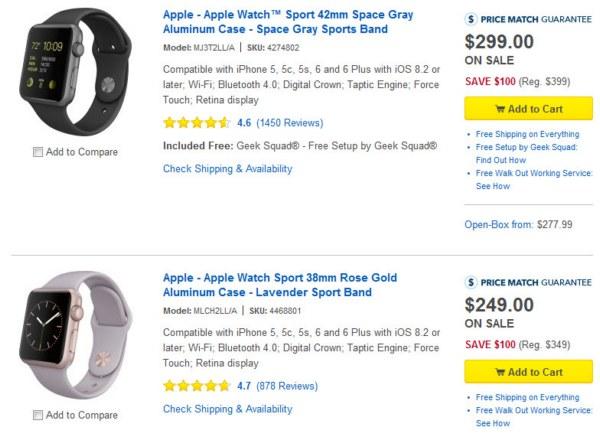 Best Buy снизил цену на все модели Apple Watch на $100