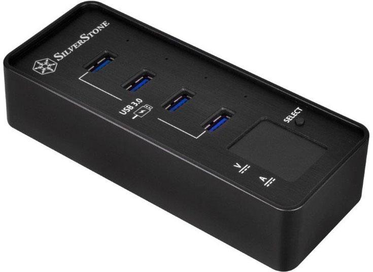 Концентратор SilverStone EP03 имеет четыре порта USB 3.0 и цифровой индикатор напряжения и тока