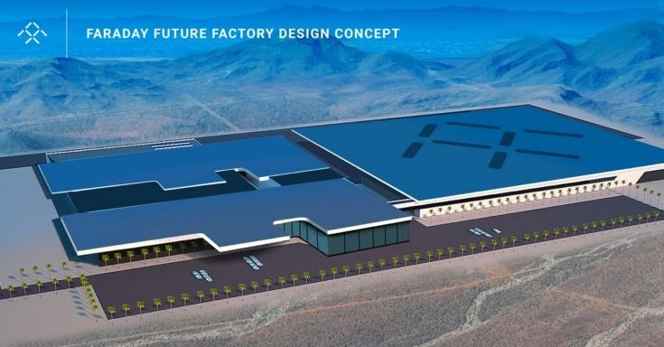 Представлено первое изображение фабрики Faraday Future, которая будет конкурировать с Tesla Gigafactory