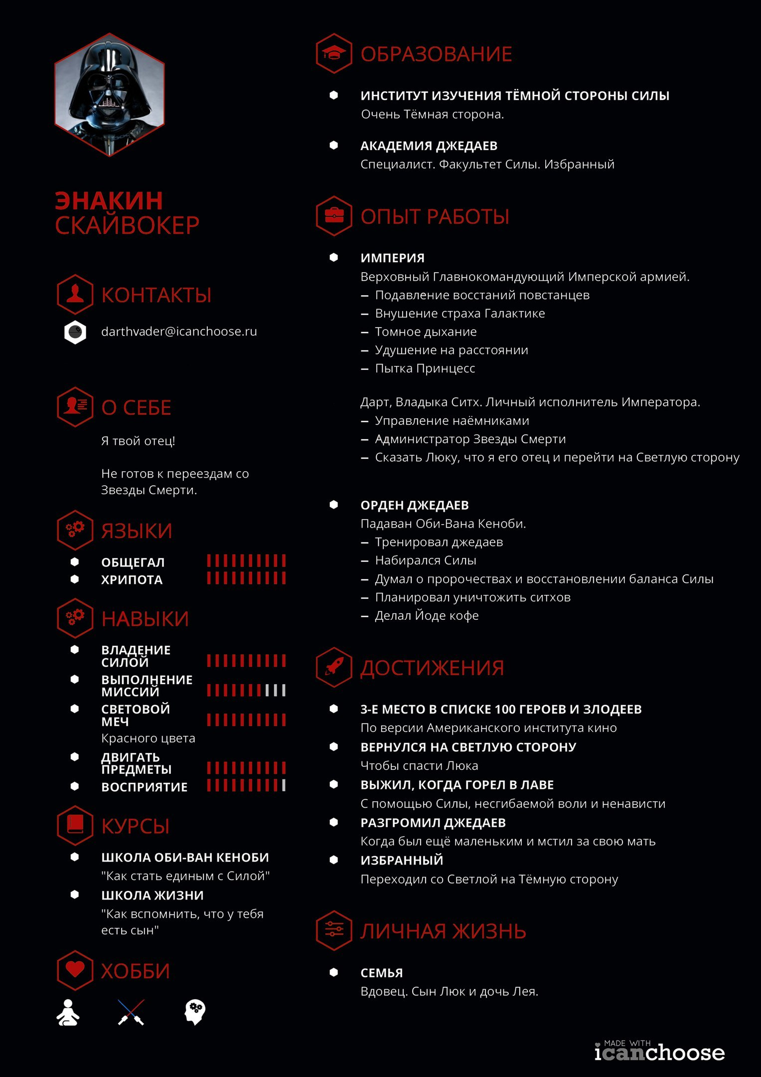Резюме Дарта Вейдера - 2
