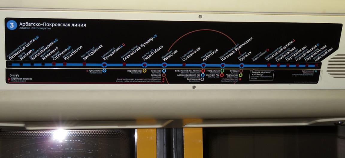 Индикатор выполнения из светодиодов над дверями вагона с названиями станций на Арбатско-Покровской  линии