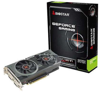 Конфигурация 3D-карты Biostar GeForce Gaming GTX 750 Ti OC включает 640 ядер CUDA