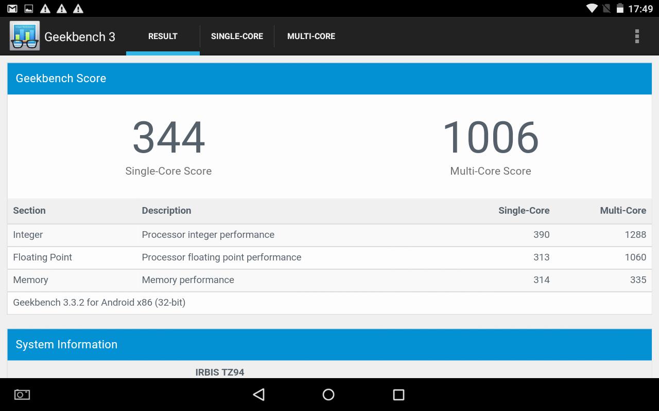 О возможностях Intel® Atom™ X3 на примере Irbis TZ94 - 7