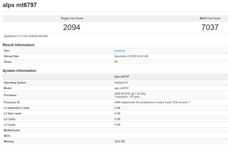 Платформа MediaTek Helio X20 набрала более 7000 баллов в Geekbench