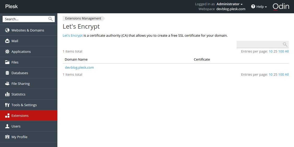 Let's Encrypt в Plesk-панели - 4