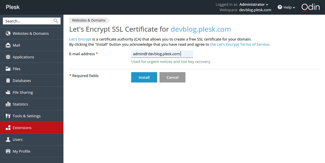 Let's Encrypt в Plesk-панели - 5