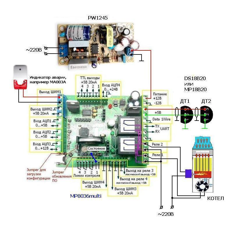 MP8036multi: пример работы термостатом - 2