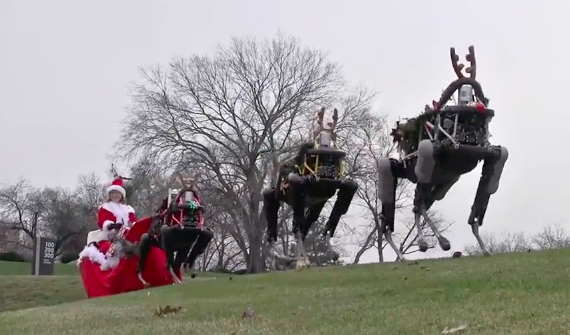 Роботы Spot изобразили оленей в праздничном поздравлении от Boston Dynamic