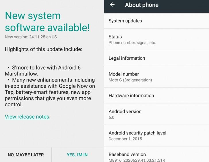 Смартфоны Motorola Moto G третьего поколения получают Android 6.0 Marshmallow