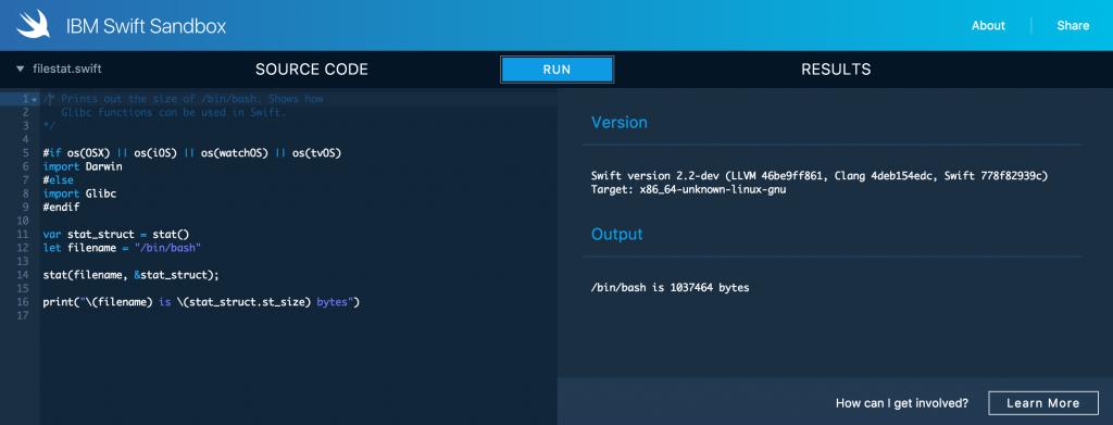 IBM Swift Sandbox — веб-песочница со Swift для тех, кто хочет разобраться в языке программирования от Apple - 1
